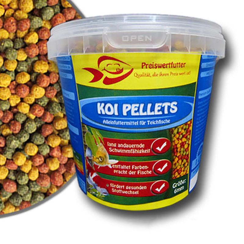 Teich granulate 6mm koi pellets 1liter eimer 360 g for Teichfische futter
